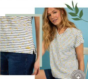 Women in Striped T-Shirt