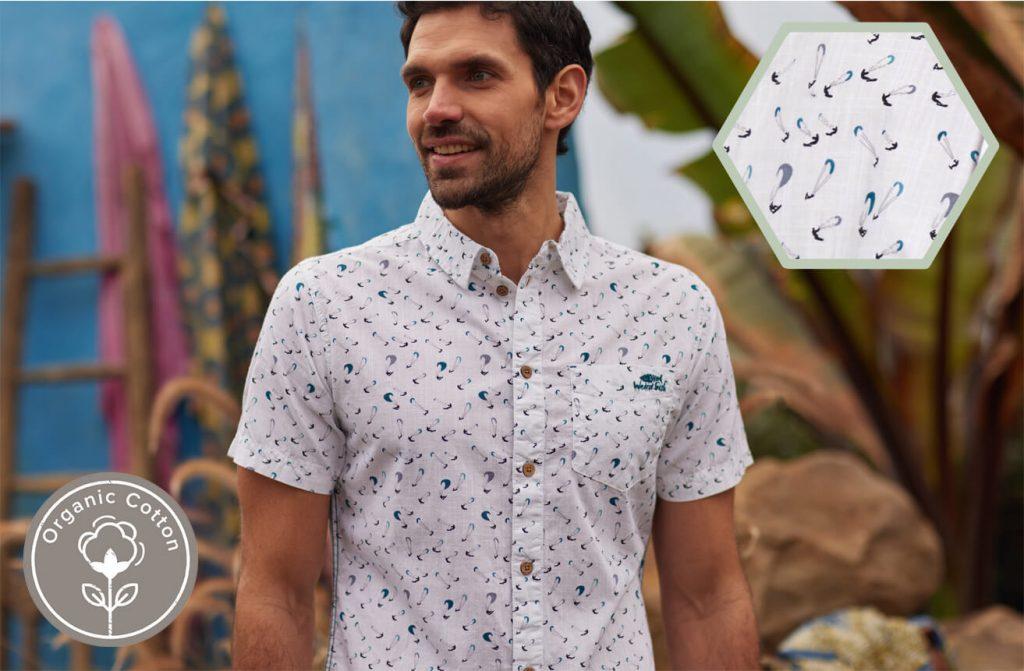 Man in printed organic cotton shirt