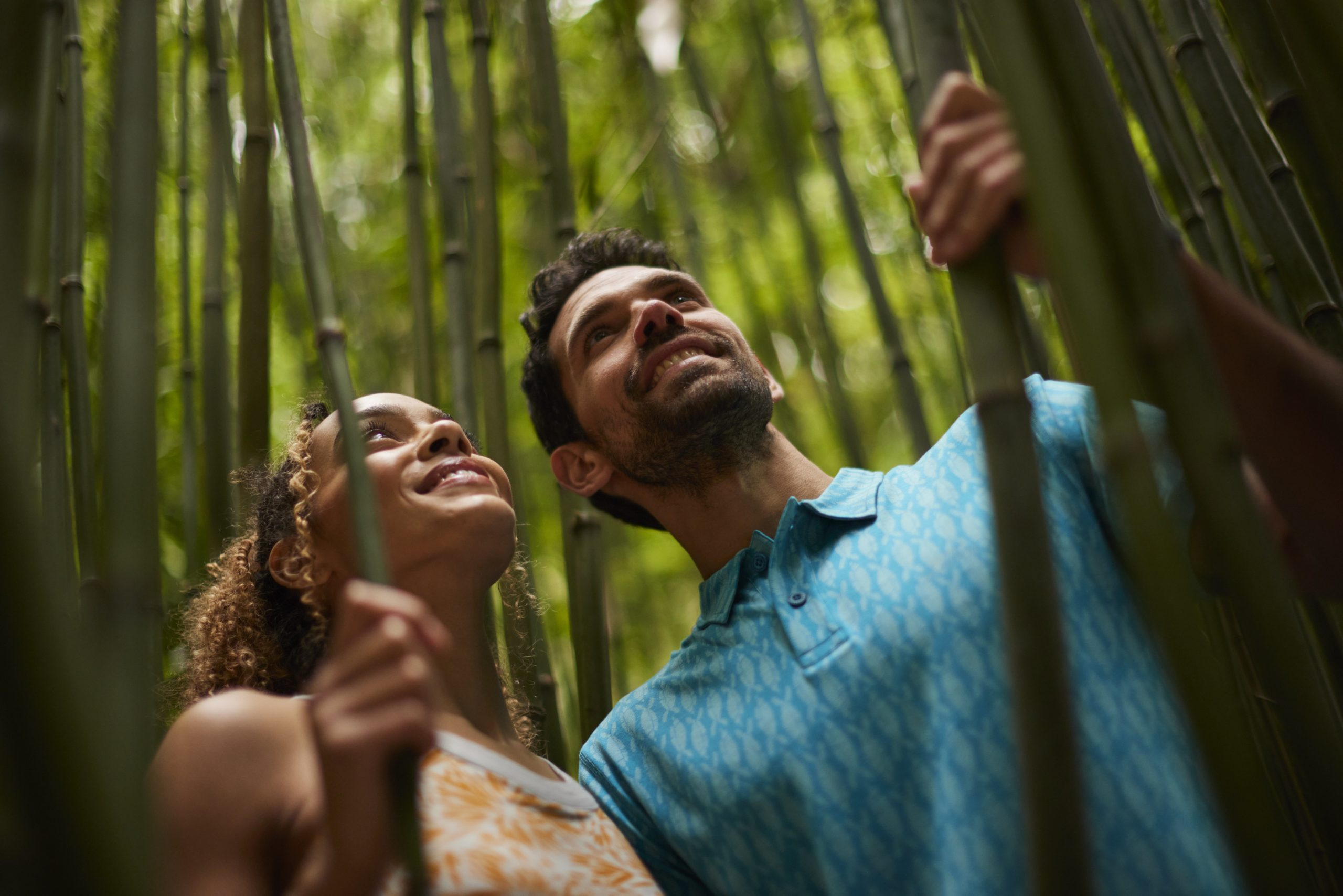men and women in bamboo